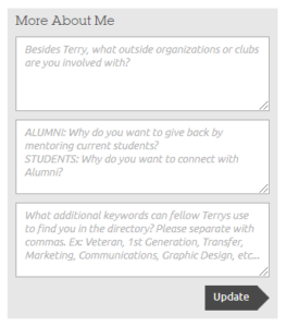 Terry Connect Profile Fields