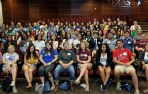 A group of Terry Scholars pose for a picture at the annual Terry Orientation event on-campus.