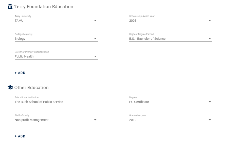 Education Fields in Terry Connect