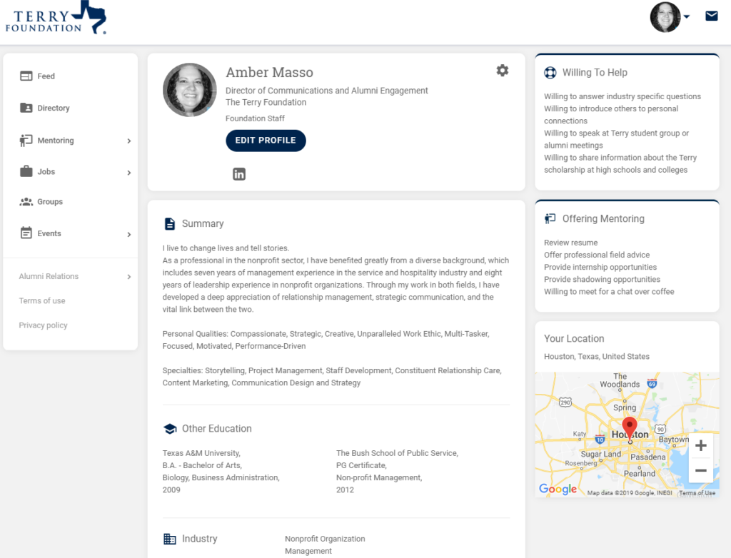 Example Terry Connect Profile Page
