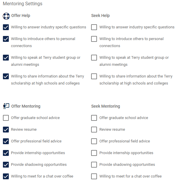Preview of mentoring settings